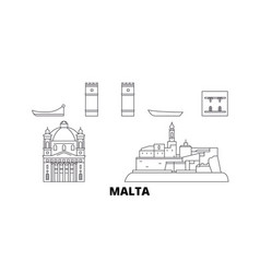 Malta line travel skyline set malta outline city vector
