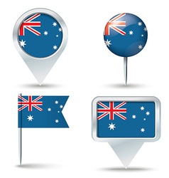 Map pins with flag of Australia vector image