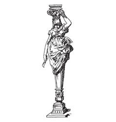 Modern caryatid goddess vintage engraving vector