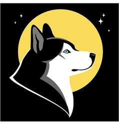 Moon and husky vector