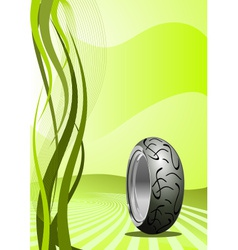 motorcycle tire on green background vector image