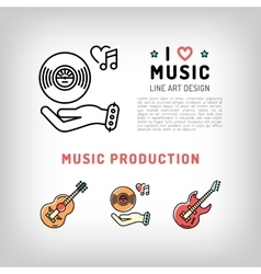 Music production and producing vinyl record vector image