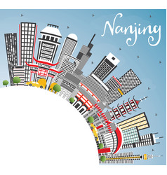 nanjing china skyline with gray buildings blue vector image