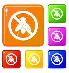 No fly sign icons set color vector