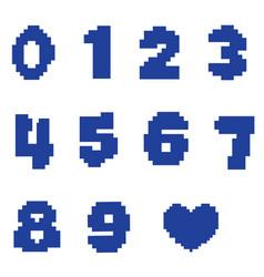 Numbers in pixel design vector