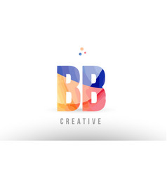 Orange blue alphabet letter bb b b logo icon vector