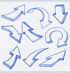outline arrows set hand drawn sketch vector image