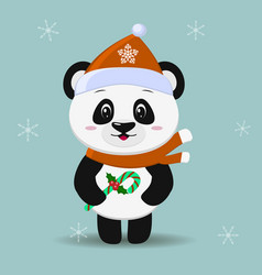 Panda in a red hat and scarf in the style of a vector