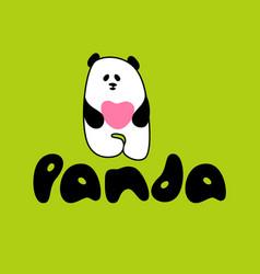 panda love template vector image