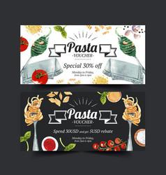 Pasta voucher design with napkin fork tomato vector