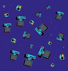Pattern computers desk and floppy nineties vector