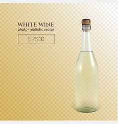 Photorealistic bottle of white sparkling wine on a vector