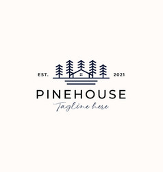pine tree house logo template isolated in white vector image