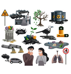 Pollution ecological disaster set vector