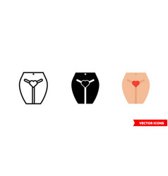 porn icon 3 types color black and white vector image
