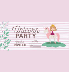 princess with unicorn invitation card vector image