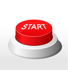 Red button with inscription start - launch button vector
