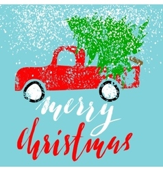 Red car carries Christmas spruce Merry Christmas vector