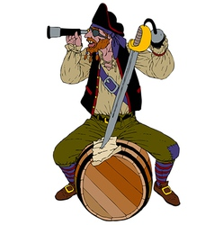 Red haired pirate looks through a spyglass vector