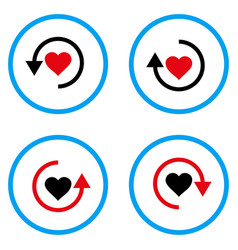Refresh love rounded icons vector