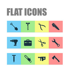 repair icons set collection of tool saw hammer vector image