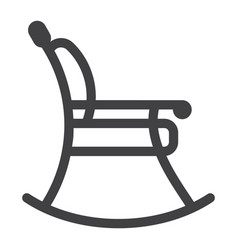 rocking chair line icon furniture and interior vector image