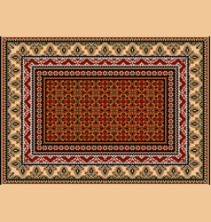Rug with ethnic design beige brown and gray vector
