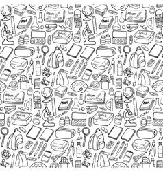 School doodle seamless pattern vector