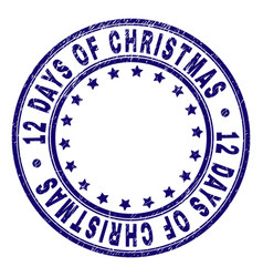 Scratched textured 12 days of christmas round vector