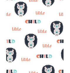 seamless pattern with cute hedgehog vector image