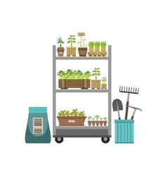 Shelves with plants and gardening instruments vector