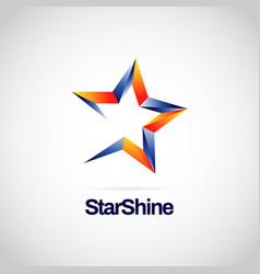 shiny blue orange star logo symbol vector image