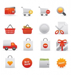 shopping icons red vector image