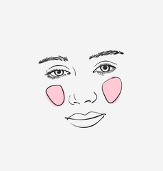 Sketch romantic girls face with pink cheeks vector