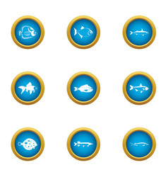 Small fry icons set flat style vector