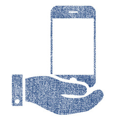 smartphone offer hand fabric textured icon vector image