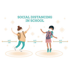 Social distancing in school young girl and boy vector