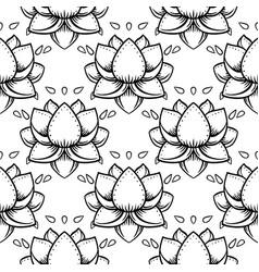 stylish lotus flowers seamless pattern ayurveda vector image