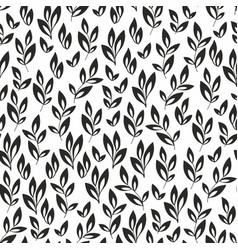 Stylized branches seamless black and white pattern vector