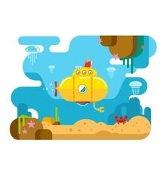 Submarine Under Water Flat vector image vector image