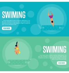 Swiming Website Template Set Horizontal banners vector