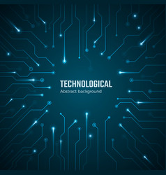 technological background blue circuit board vector image