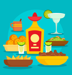 tequila food concept background flat style vector image