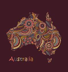 Textured map australia hand drawn ethno vector