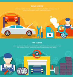 Tire service and car spares horizontal banners vector