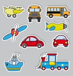 transportation sticker icons vector image