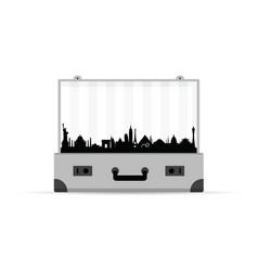 Travel symbol with grey vintage suitcase vector