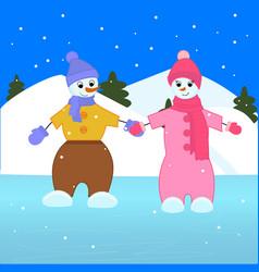 Two snowmen ride on ice vector