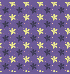 Ultra violet seamless pattern with flowers and vector