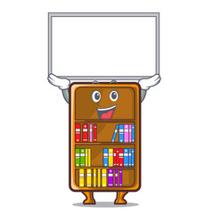 Up board mascot bookcase beside the study desk vector